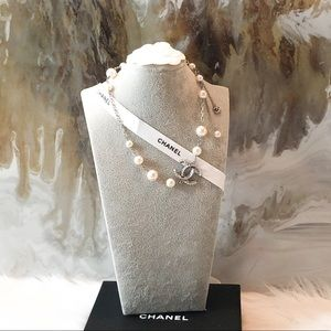 Chanel Pearl & Swarovski Crystal CC Chain Necklace